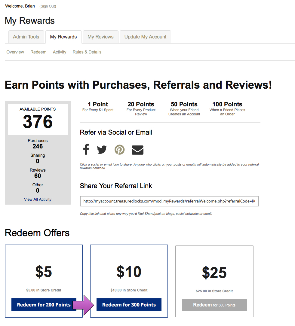 here's how to redeem points